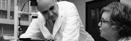 Dr. Hilleman in the lab