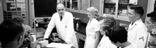 Dr. Hilleman with students