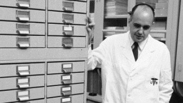 Dr. Hilleman with files